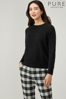 Pure Collection Black Cashmere Lofty Sweatshirt