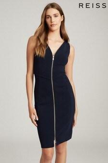 שמלה צמודה של Reiss דגם Eva בצבע כחול כהה עם דיטייל רוכסן