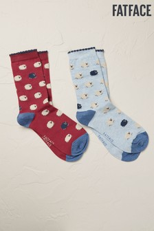 FatFace Socken mit Schafdesign im Doppelpack, Violett