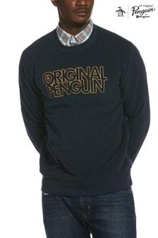 Original Penguin ブルー スタックロゴ ポーラーフリース スウェットシャツ