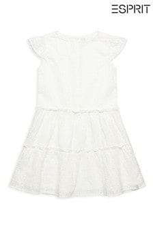 Esprit Kleid mit Lochstickerei, Weiß