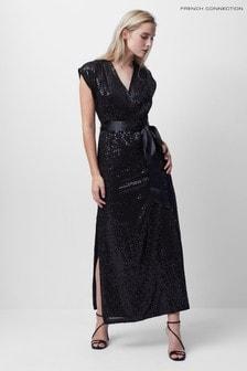 French Connection Arailla Embellished V-Nk Sequin Dress