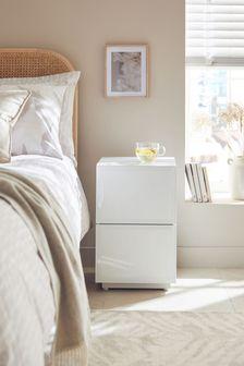 Sloane White Slim 2 Drawer Bedside Table