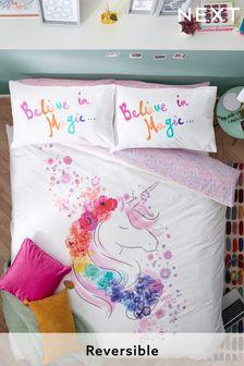 Белый постельный комплект с принтом единорога и цветами