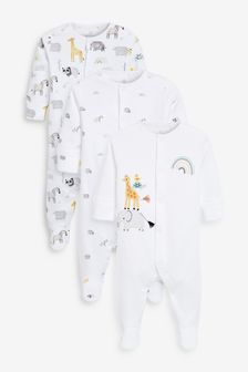 3 Pack GOTS Organic Cotton Animal Sleepsuits (0-12mths)