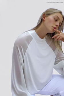 French Connection White Noemi Woven Mix Jersey Mock Neck Top