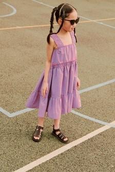 Kleid mit Raffung, Trägern und Stufendesign (3-16yrs)