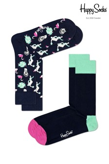 Happy Socks Navy/Orange Socks Two Pack