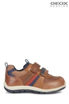 Geox Baby Jungen/Unisex Shaax Sneaker mit Klettverschluss, Cognac/Marineblau