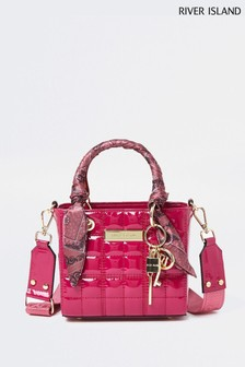 River Island Pink Small Patent Quilted Ken Tote Bag