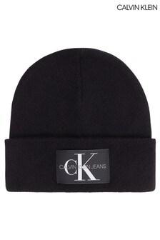 Calvin Klein Black Monogram Beanie