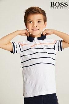 BOSS White Technical Stripe Logo Polo Shirt