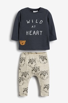 T-Shirt And Leggings Slogan Set (0mths-2yrs)