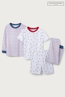 The Little White Company Multi Star All Over Print & Stripe Pyjamas 2 Pack