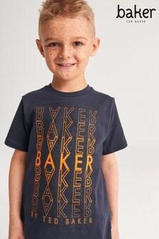 تي شيرت مرآة أزرق داكن من baker by Ted Baker