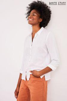 חולצת כותנה אורגנית של White Stuff דגם Emma בצבע שנהב