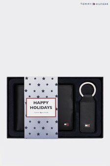 Tommy Hilfiger Black Eton Wallet And Keyfob Gift Pack
