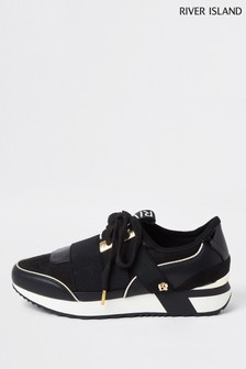 River Island Black Pull-On Runner Trainers