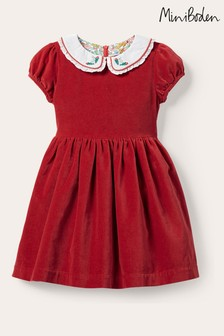 Boden Red Collared Velvet Party Dress