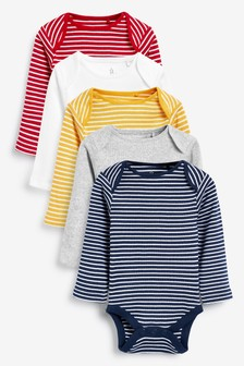 5 Pack Stripe Long Sleeved Bodysuits (0mths-3yrs)