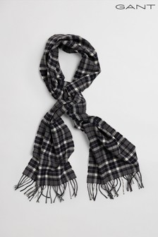 GANT Grey Checked Twill Wool Scarf