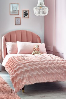 Pink Ruffle Chevron Duvet Cover and Pillowcase Set