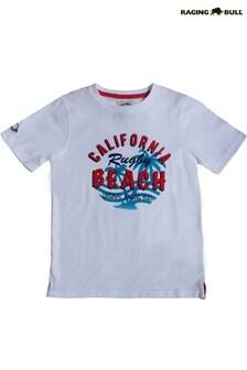Белая пляжная футболка Raging Bull California Beach Rugby