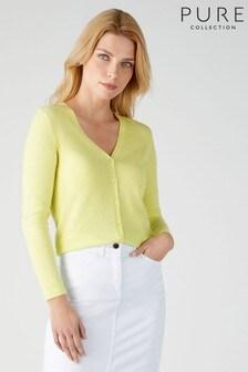 Pure Collection - Cardigan giallo in cachemire con scollo a V