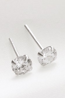 Plated Cubic Zirconia Stud Earrings