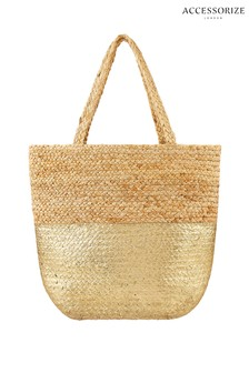 Accessorize Gold Sarah Metallic Beach Tote Bag