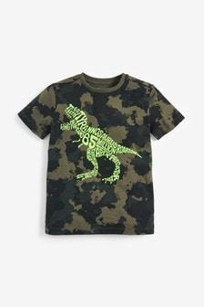 Maskáčové tričko s dinosaurom (3 – 14 rok.)