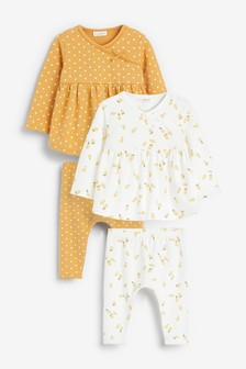 4 Pack Lemon And Spot Print Top And Leggings Set (0mths-2yrs)