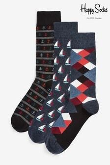 Набор носков с якорями/в полоску Happy Socks (3 пары)