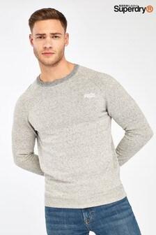 Sivý bavlnený pulóver s okrúhlym výstrihom Superdry