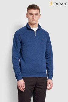 Farah ブルー Jim 1/4 ジップ スウェットシャツ