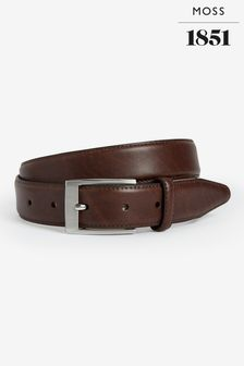 Moss 1851 Brown Real Leather Belt