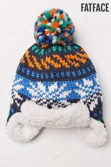 FatFace Navy Fairisle Pattern Trapper Hat