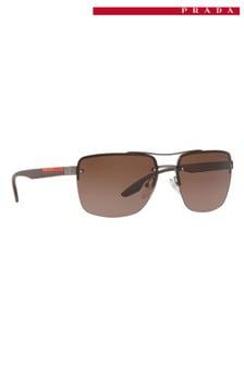 Коричневые солнцезащитные очки без оправы Prada Sport