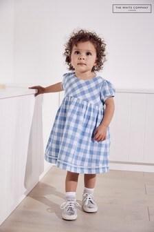 The White Company藍色格子棉布連身裙