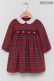 Trotters London Charlotte Gesmoktes Kleid mit Schottenmuster, Rot