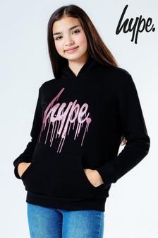 קפוצ'ון של Hype. דגם Sequin Drip Script בשחור
