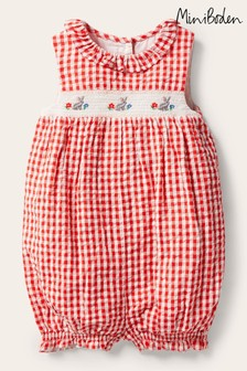 Boden Red Smocked Check Romper