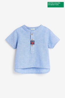 Benetton Blue Grandad Shirt