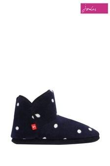 Modré papuče Joules s podšívkou z umelej kožušiny a gumenou podrážkou