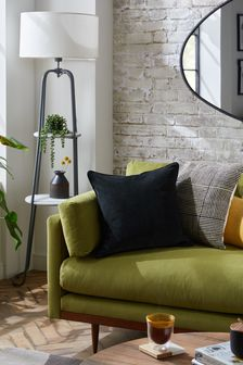 Black Soft Velour Small Square Cushion