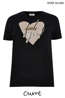 River Island Black Feel Good Monogram Heart T-Shirt