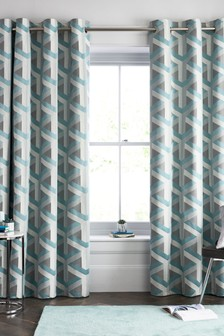 Optical Geo Jacquard Eyelet Lined Curtains