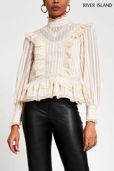 River Island Cream Lace Frill Blouse