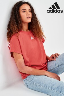 adidas Red Must Have 3 Stripe T-Shirt
