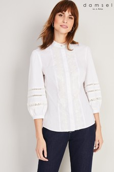 חולצתתחרה שלDamsel In A Dress דגםEmersynבצבע שמנת
